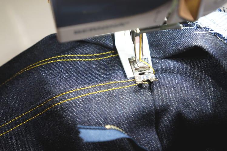 topstitching side seams and adding bar tack