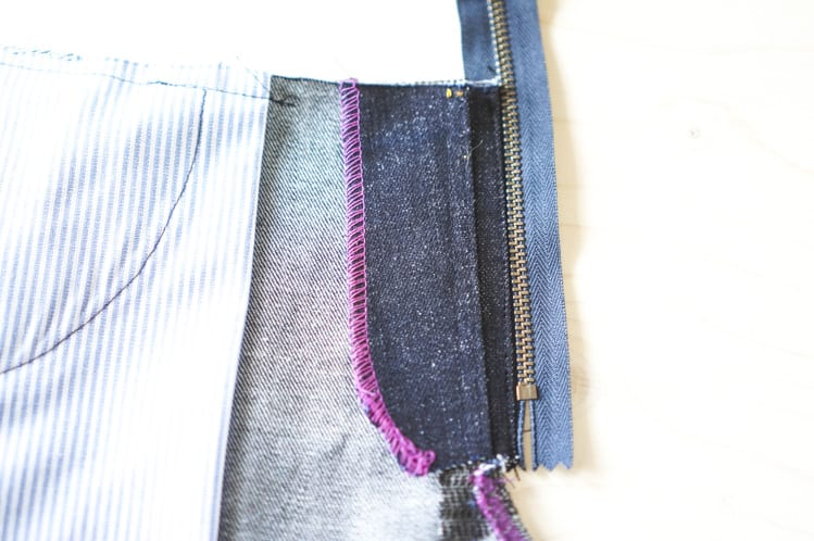 installing zipper for fly front
