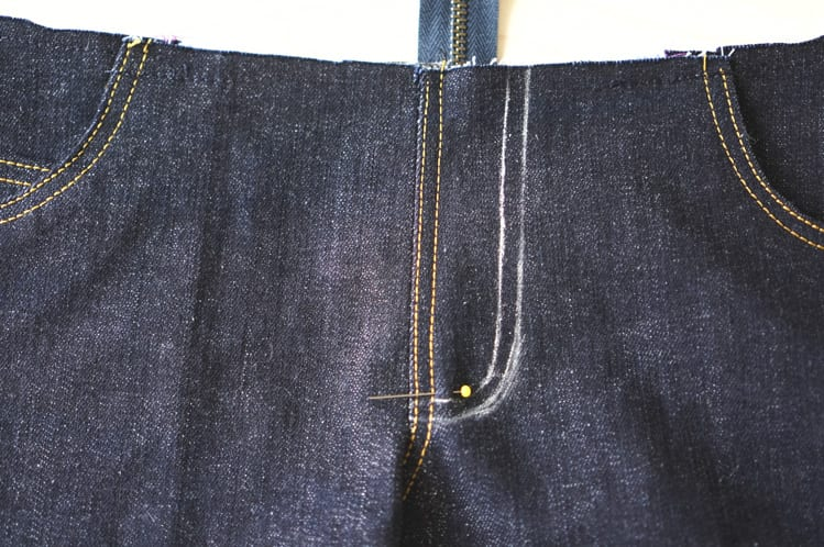marking topstitching for fly front