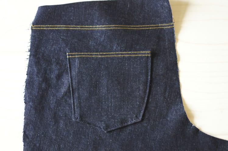 basting the back pocket