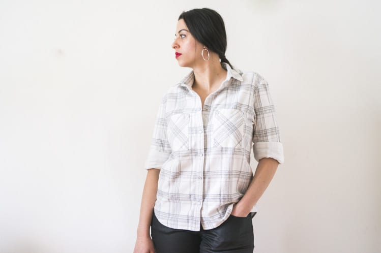 plaid archer button down shirt
