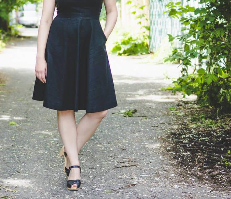black linen circle skirt