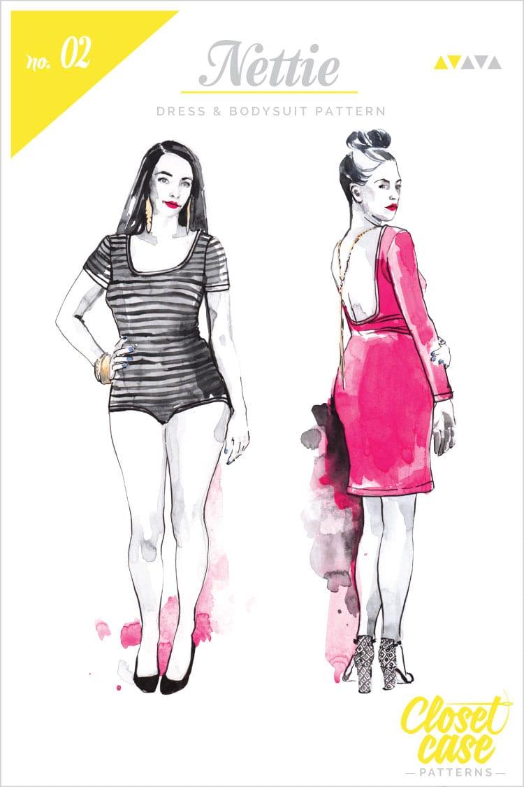 Fashion illustrations for printed patterns // Nettie Dress & Bodysuit // Closet Case Files
