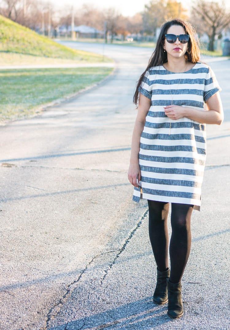 Named Inari dress pattern // Striped linen // Closet Case Files