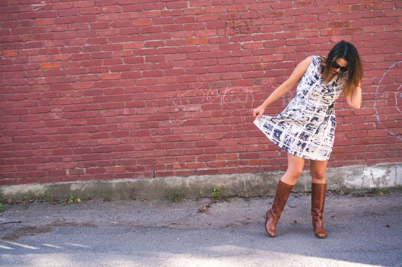 Colette Myrtle dress in cotton spandex // April Rhodes Observer fabric // Closet Case Patterns