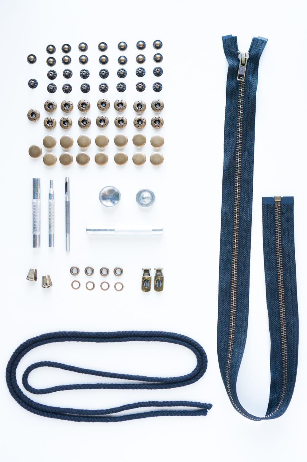 Kelly Anorak hardware kit (includes snap buttons, grommets, zipper & drawstring) // Closet Case Patterns