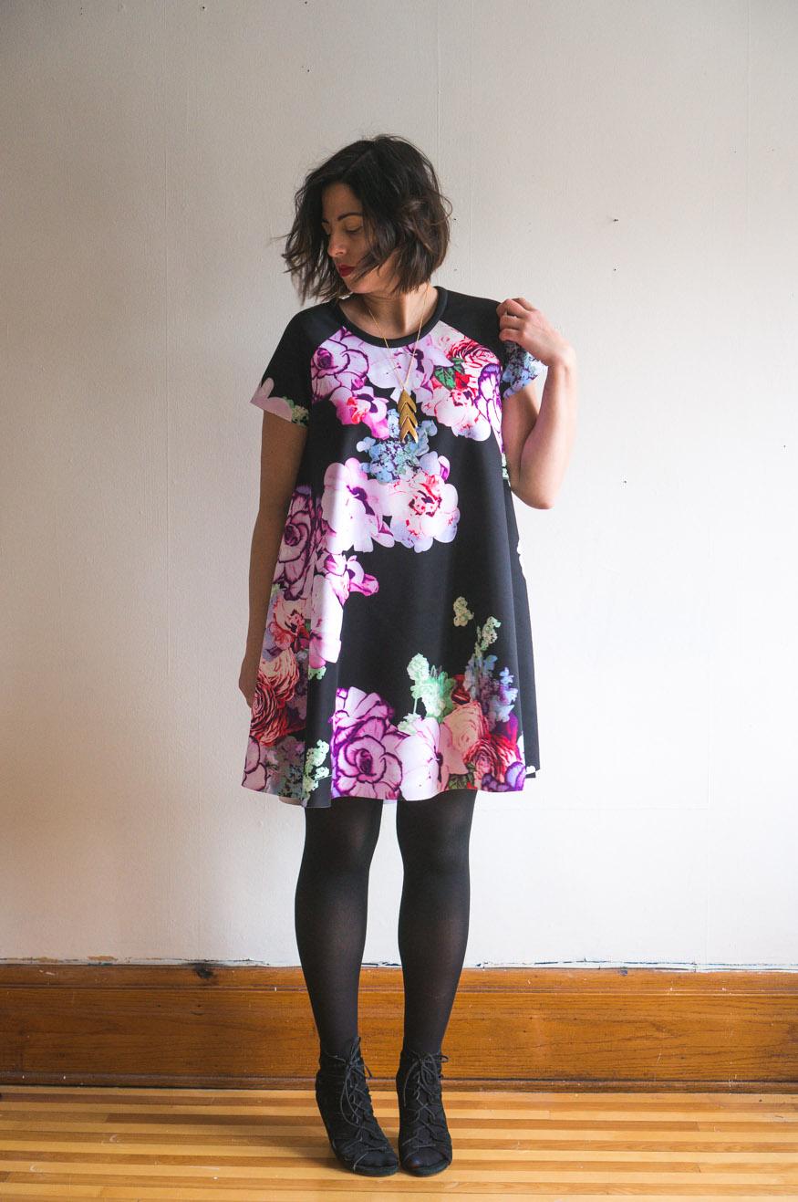 Ebony Tee pattern //Raglan sleeve swing dress pattern in scuba knit // Closet Core Patterns