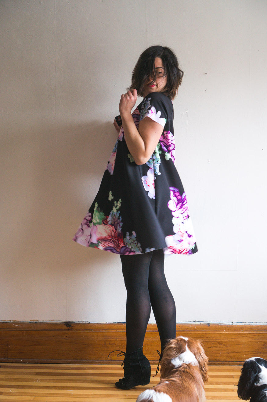 My Favourite Ebony Tee Dress in Floral Scuba Knit | Closet Case Patterns